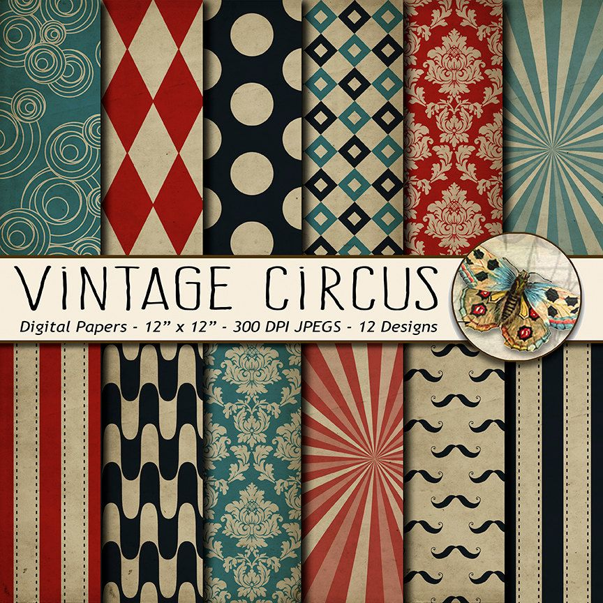 Circus Digital Paper Vintage Distressed Carnival Grunge TheArtBoxDesigns 400 USD