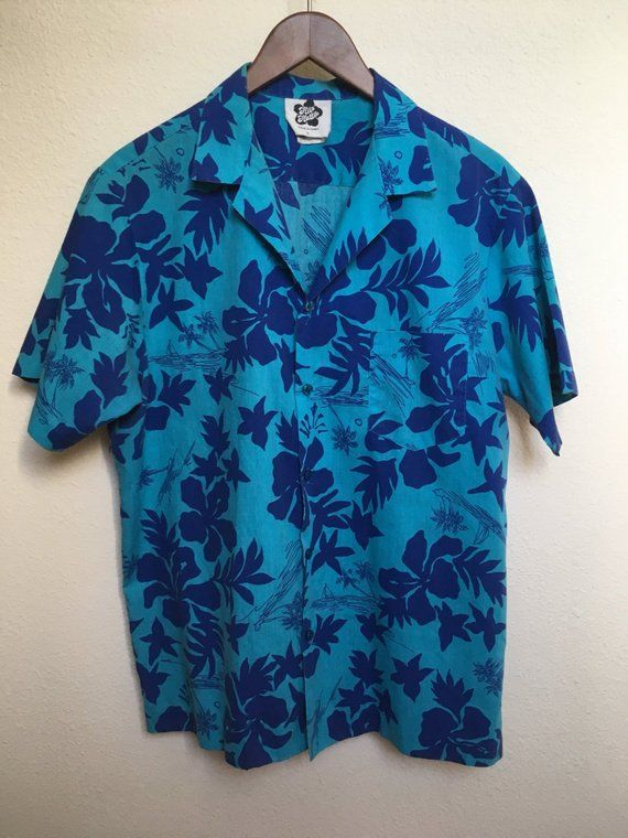 c3777e20efa Vintage blue floral Hawaiian shirt Hilo Hattie Medium 1980s Aloha shirt 80s  palm tree print