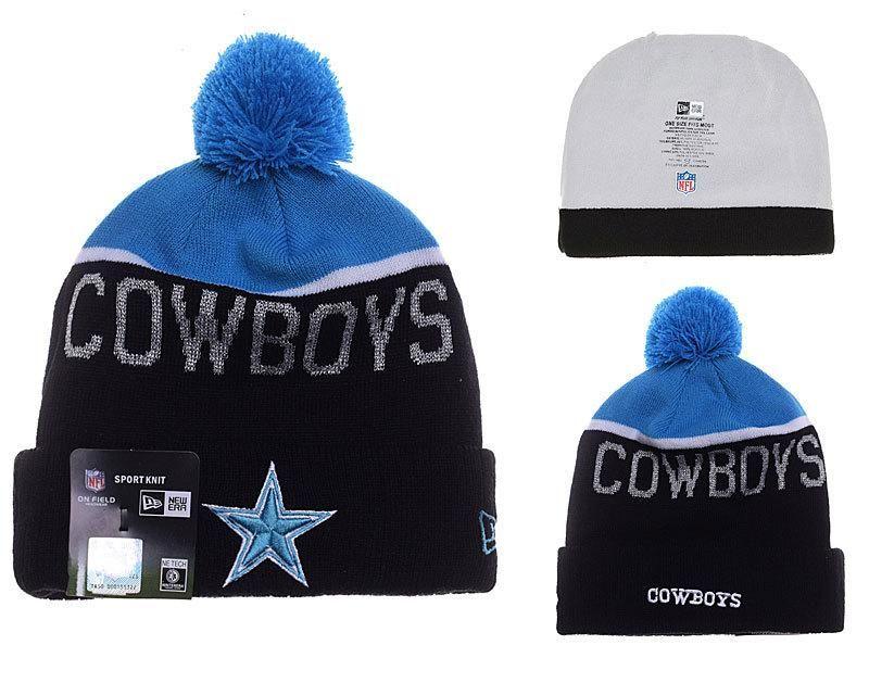 b8374bbff0b8c Mens   Womens Dallas Cowboys New Era NFL Fashion Sports On-Field Knit  Beanie Hat With Pom Pom - Blue   Black