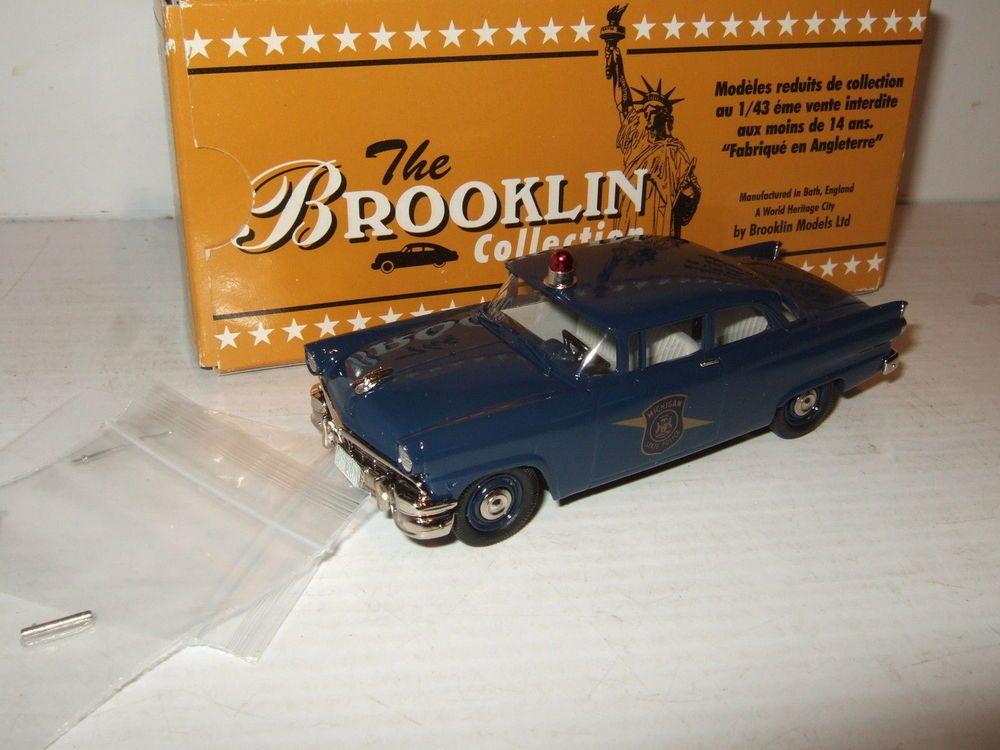 Rare Brooklin BRK 23AA 1956 Ford Mainline Tudor Michigan State Police Car 1:43