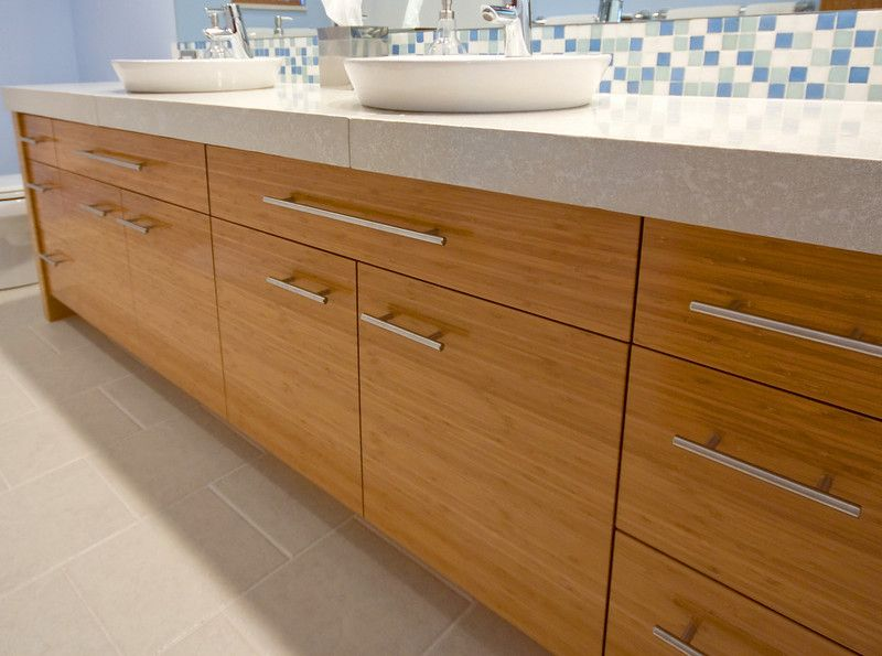 Bamboo Bathroom Vanities modern bathroom vanity done with bamboo and top mount sinks. www