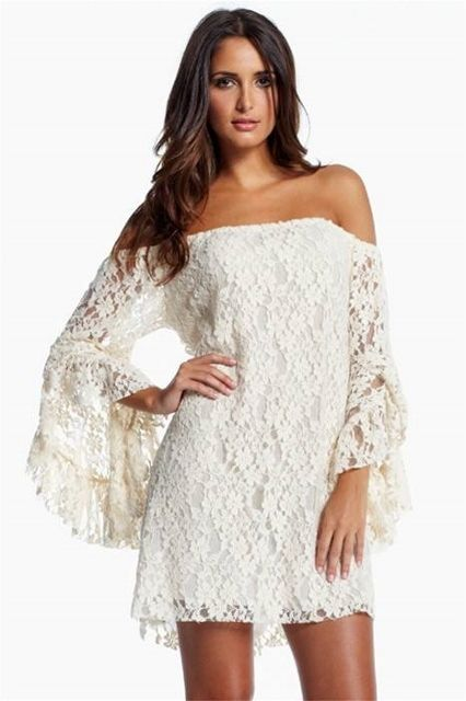 3d3daae80178b COWGIRL GYPSY DRESS White Stretchy Lace Off the Shoulder Long Sleeve  Western Mini Dress Tunic Top