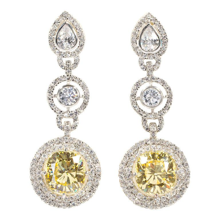 Fabulous Faux White And Yellow Diamond Long Pendant Earrings