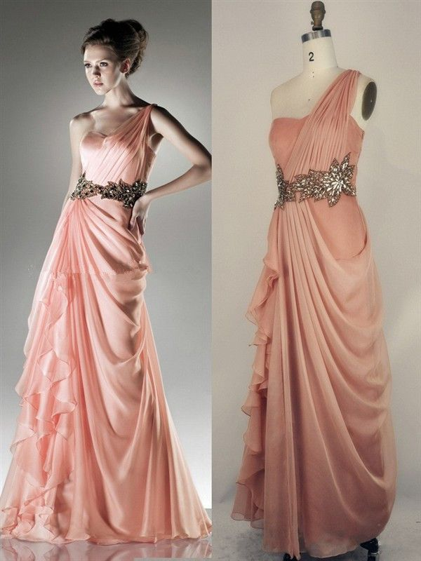 Peach Prom Dresses 2013 Sexy One Shoulder Prom Gowns Fast Shipping ...