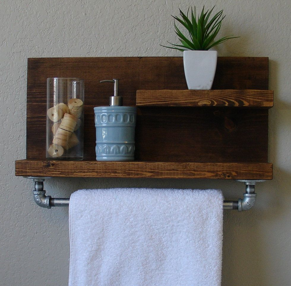 "Wooden Shelf With Towel Bar: Modern Rustic 2 Tier Bathroom Shelf With 18"" Satin Nickel"