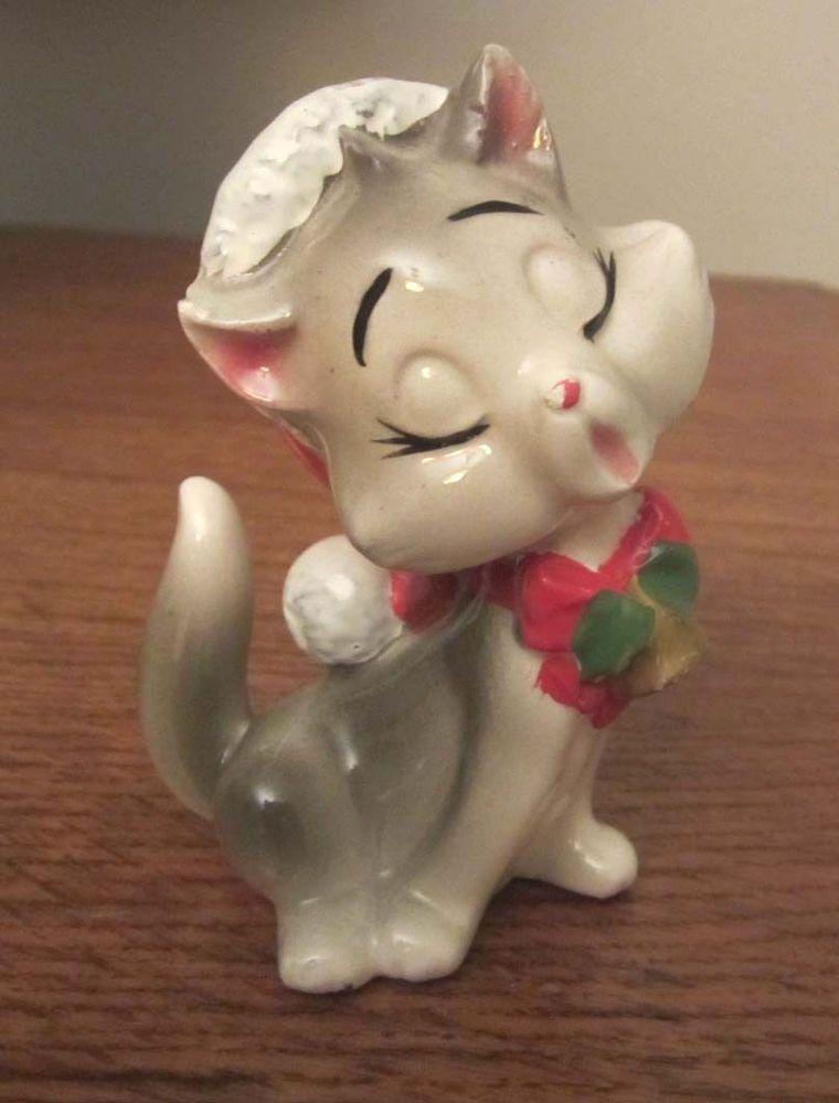 Vintage Mid-Century Christmas LEFTON JAPAN SINGING CAT in Miss SANTA HAT - CUTE!