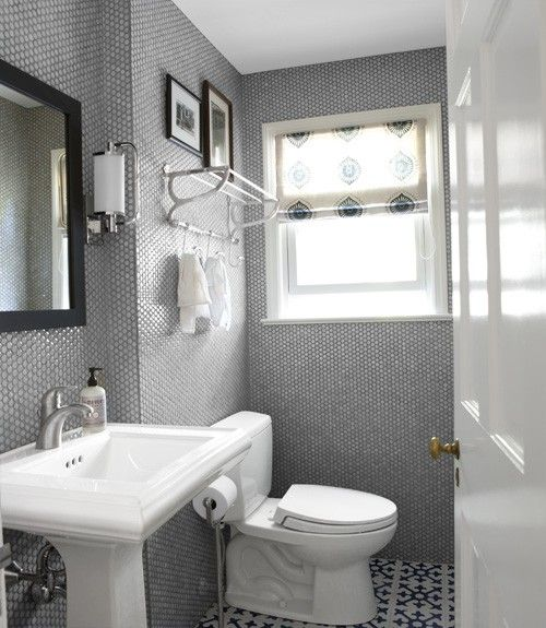 Grey And White Bathroom   Downstairs Bath    I Have A White Pedestal Sink,  And Wallpaper That Needs To GO