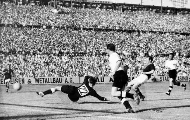 Hungary 8 West Germany 3 in 1954 in Basel. Nandor Hidegkuti made it 5-1  after 54 minutes in Group 2 at the World Cup Finals. | Suiza, Mundial de