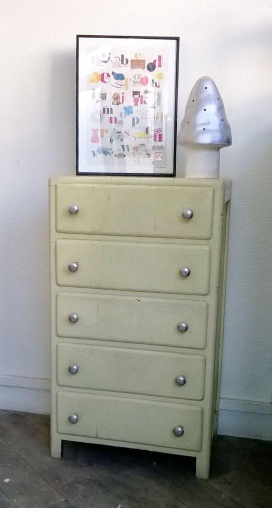Chiffonnier vintage aux boutons alu rénovation meubles, peinture - Renovation Meuble En Chene