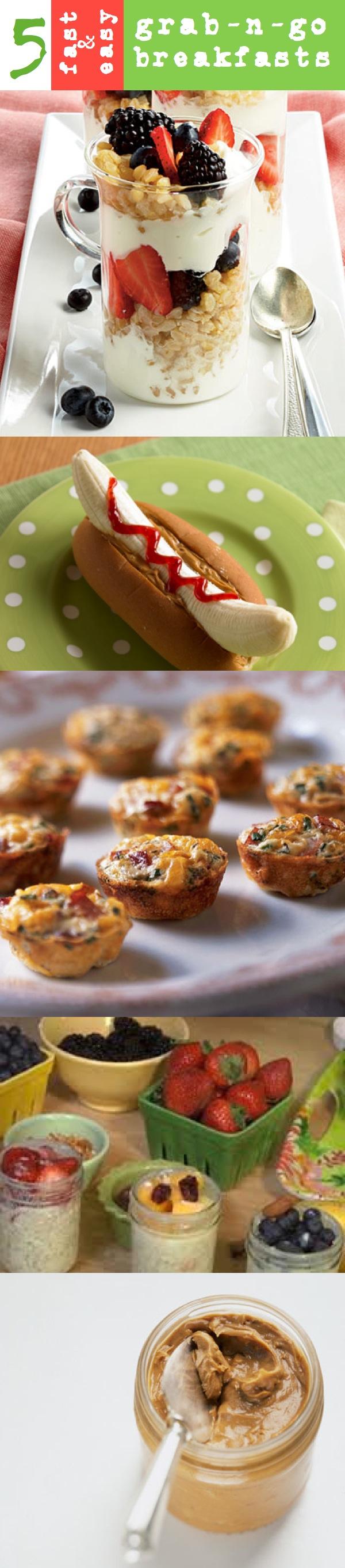 Don't skip breakfast!! 5 Easy Grab-n-Go Breakfast Ideas www.thesweatshed.com