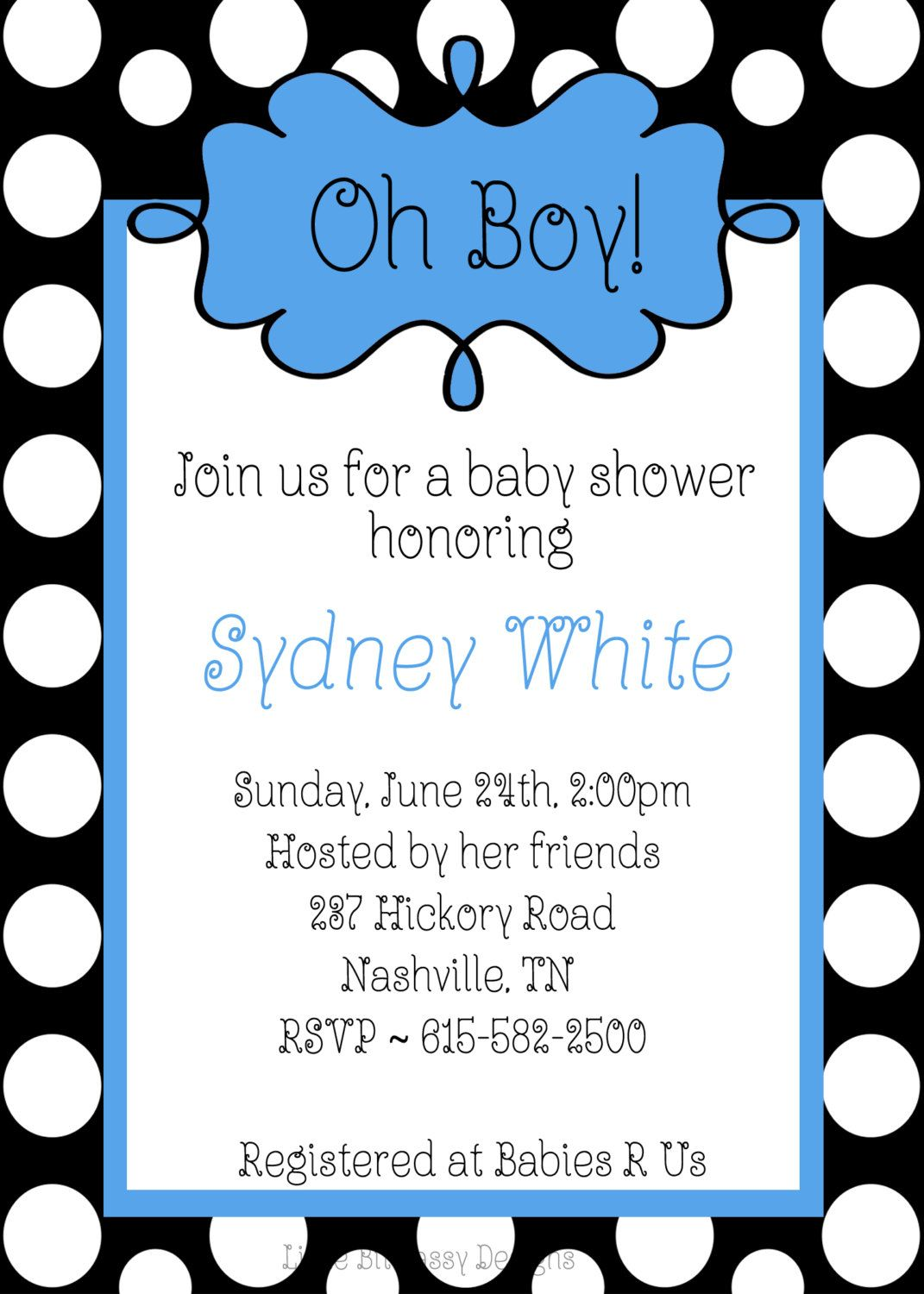 black white and blue baby shower | Oh Boy Baby Shower Black White ...