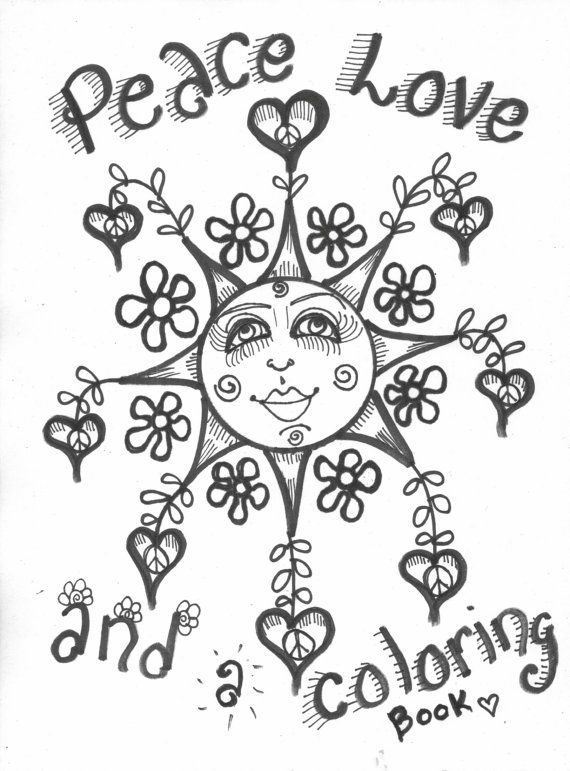 Hippie Art Coloring Book Peace Love and a by