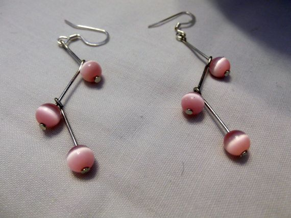 Pink Bead and Wire Drop Earrings by SingOn on Etsy, $8.00