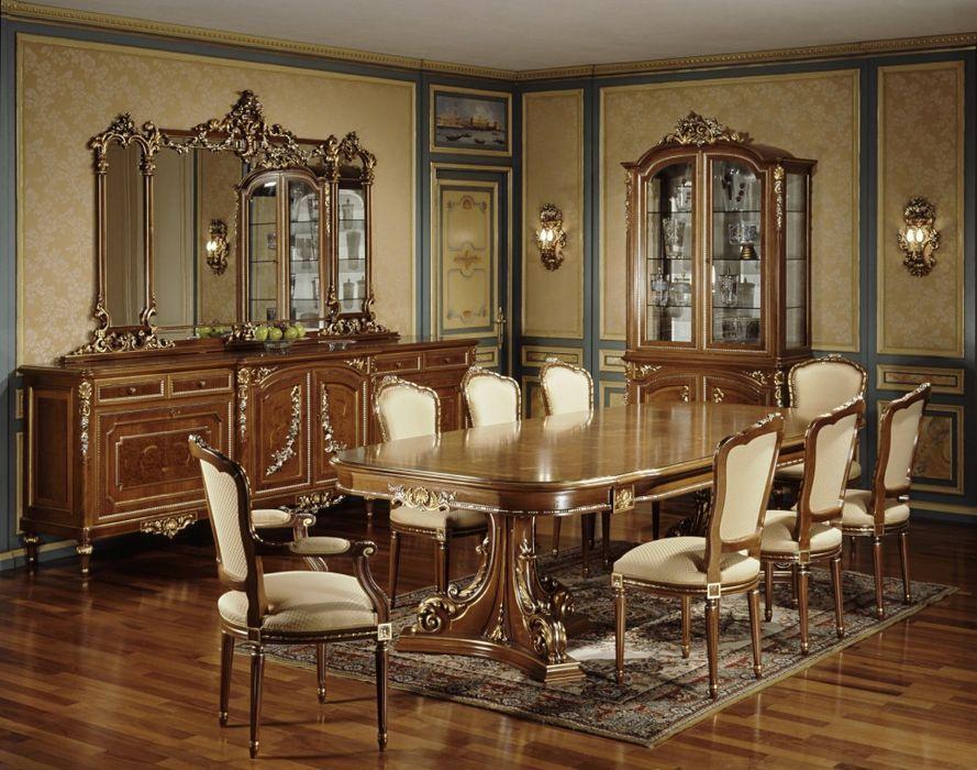 Jídelní stůl, židle, skříně na nádobí a další doplňky pro kompletní luxusní jídelní místnost od italské značky Meroni Francesco e Figli, více na: http://www.saloncardinal.com/galerie-meroni-francesco-e-figli-e1c