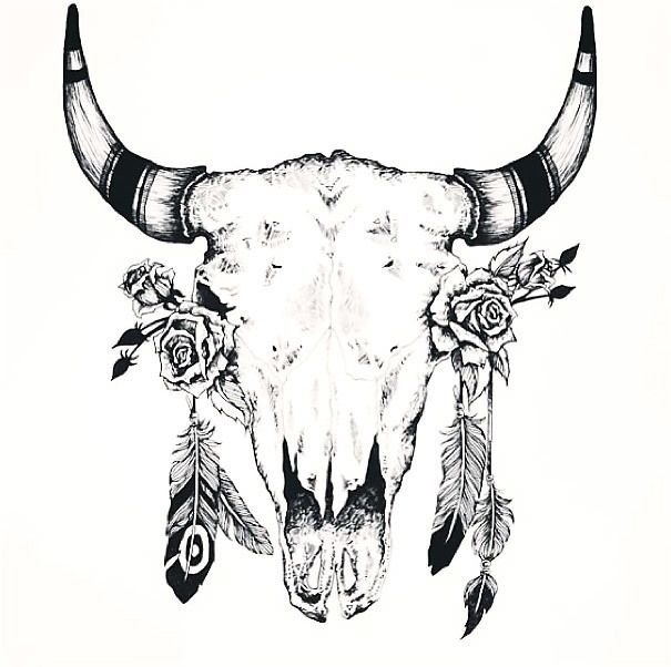 efd76301a76 A great tattoo of a bull skull with feathers on horns and roses inside eye  sockets. Color  Black. Tags  Great