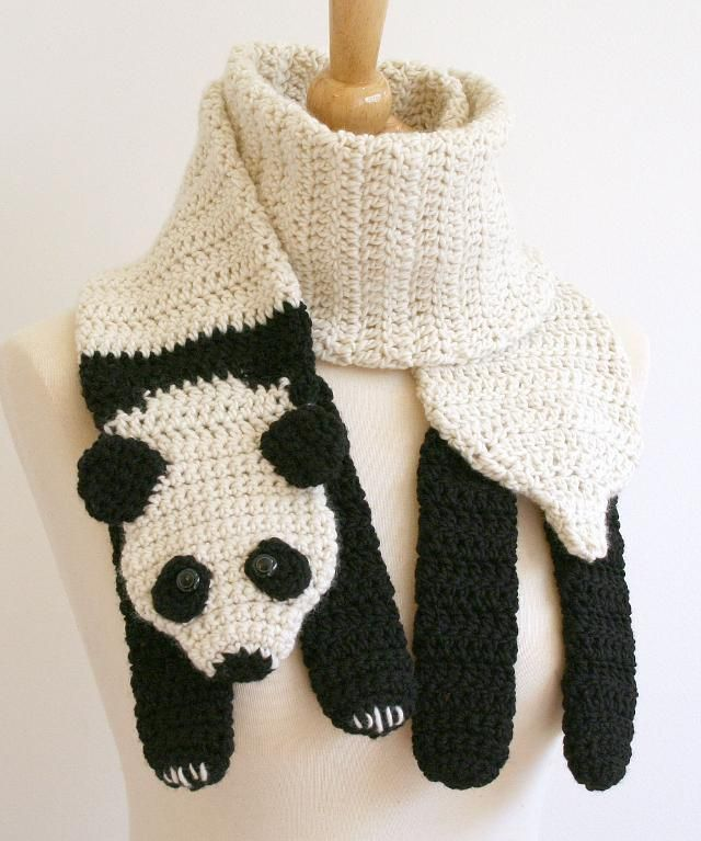 White Winter Scarf Outfit Funny Panda Bear Putting Clothes On