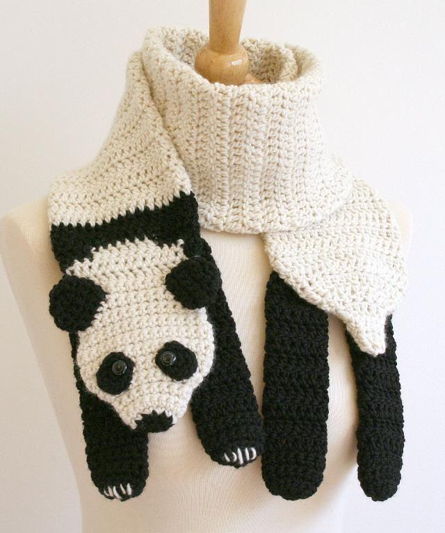Panda Scarf Crochet Pattern | tejidos | Pinterest | Croché ...