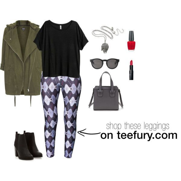 TeeFury Argyle Fighter Leggings by teefury on Polyvore featuring H&M, Topshop, Forever 21, Monki, Bobbi Brown Cosmetics and OPI