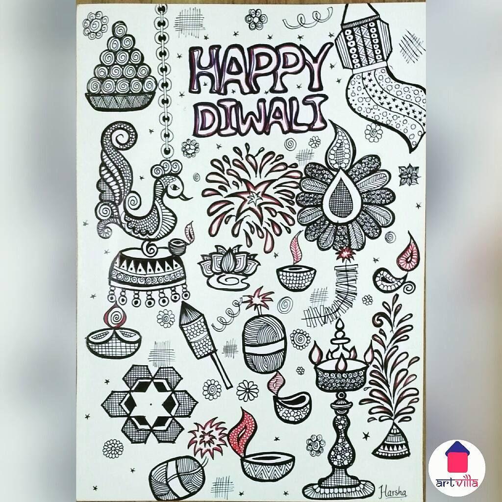 No Photo Description Available Diwali Greetings Happy Diwali Doodle Art [ 1024 x 1024 Pixel ]