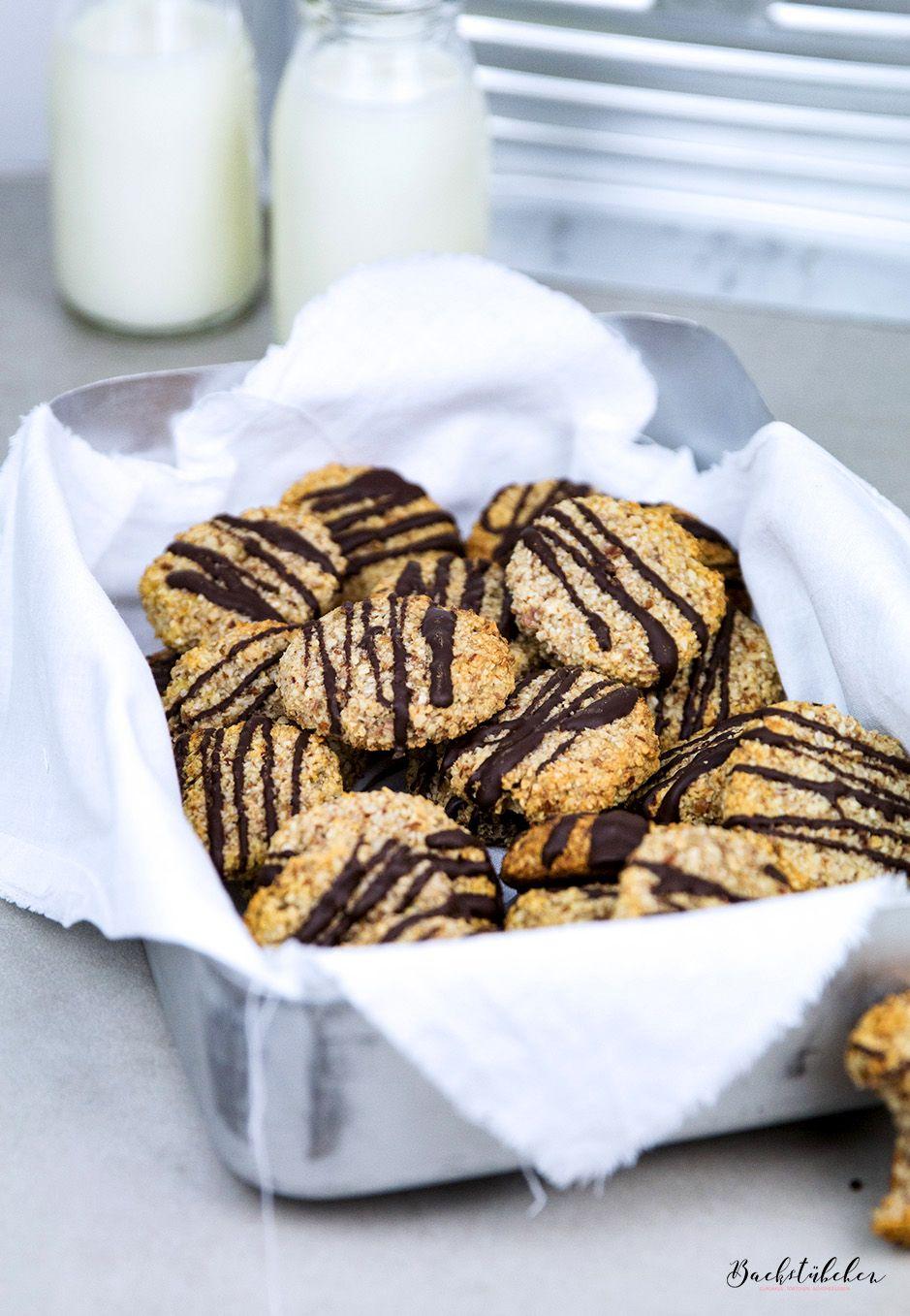 Bananencookies mit gemahlenen Mandeln, Haferflocken und Honig. — Backstübchen