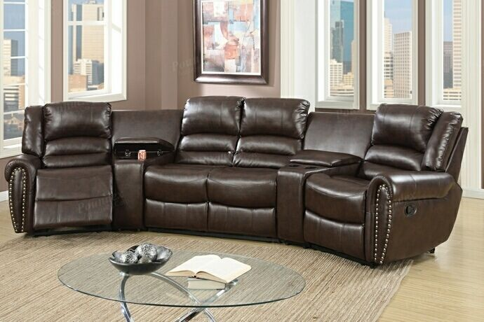 Poundex F6748 5 Pc Red Barrel Studio Breese Brown Bonded Leather Theater Sectional Sofa With Recliners Home Theater Seating Sectional Sofa With Recliner Home