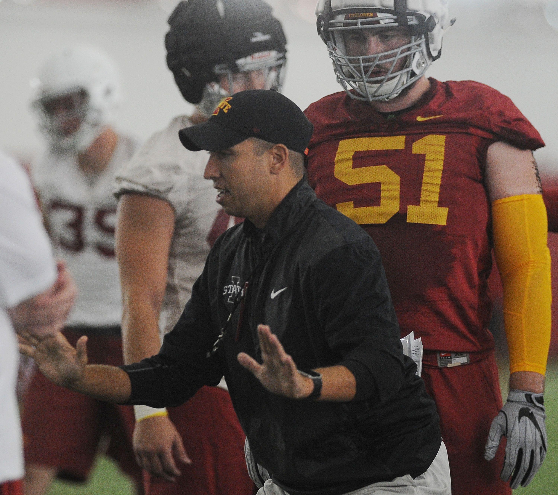 Iowa State Football Head Coach Matt Campbell Demonstrates A