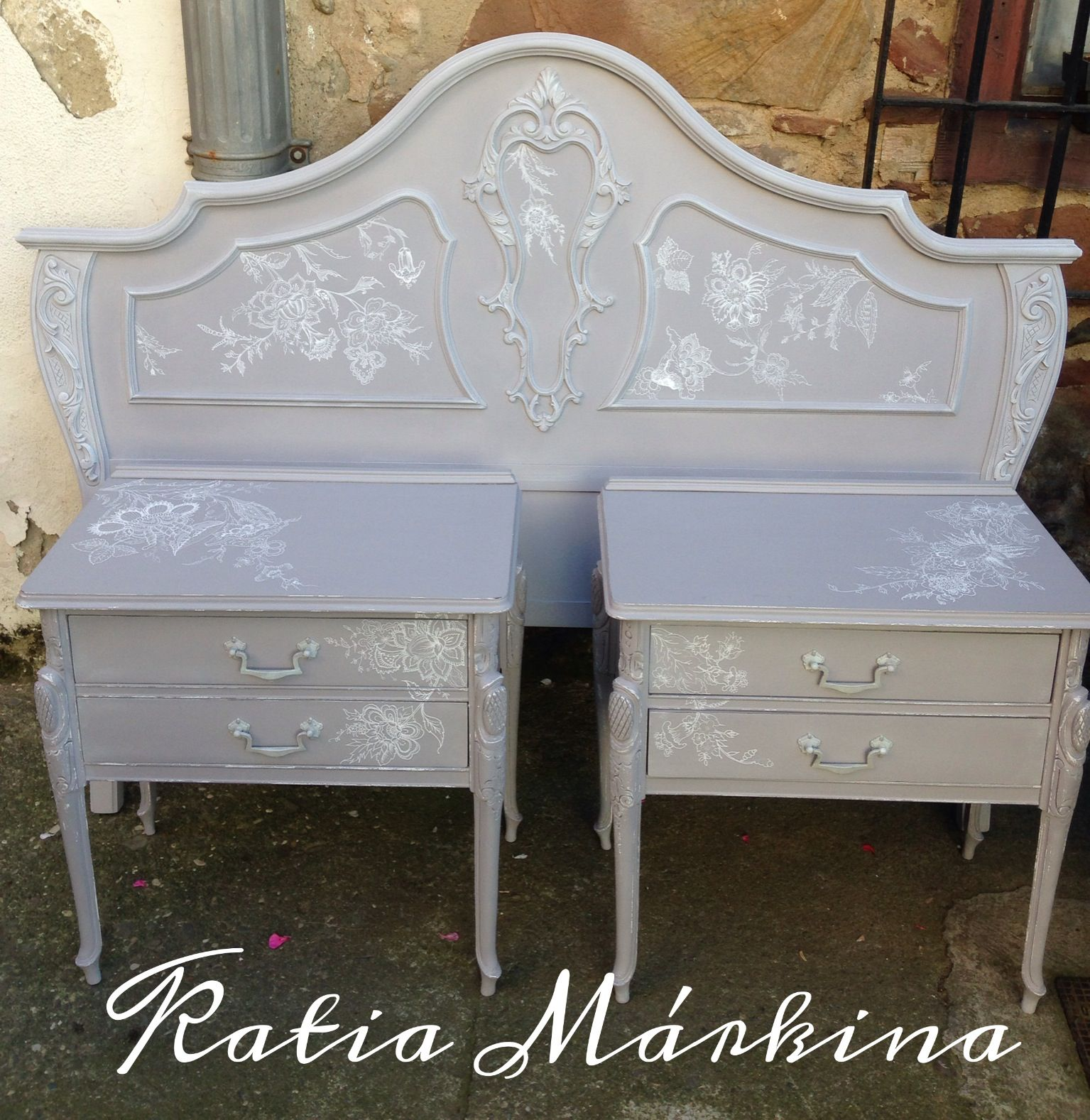 Cabecero cama 135cm pintado a mano con chalk paint color for Muebles ezcaray