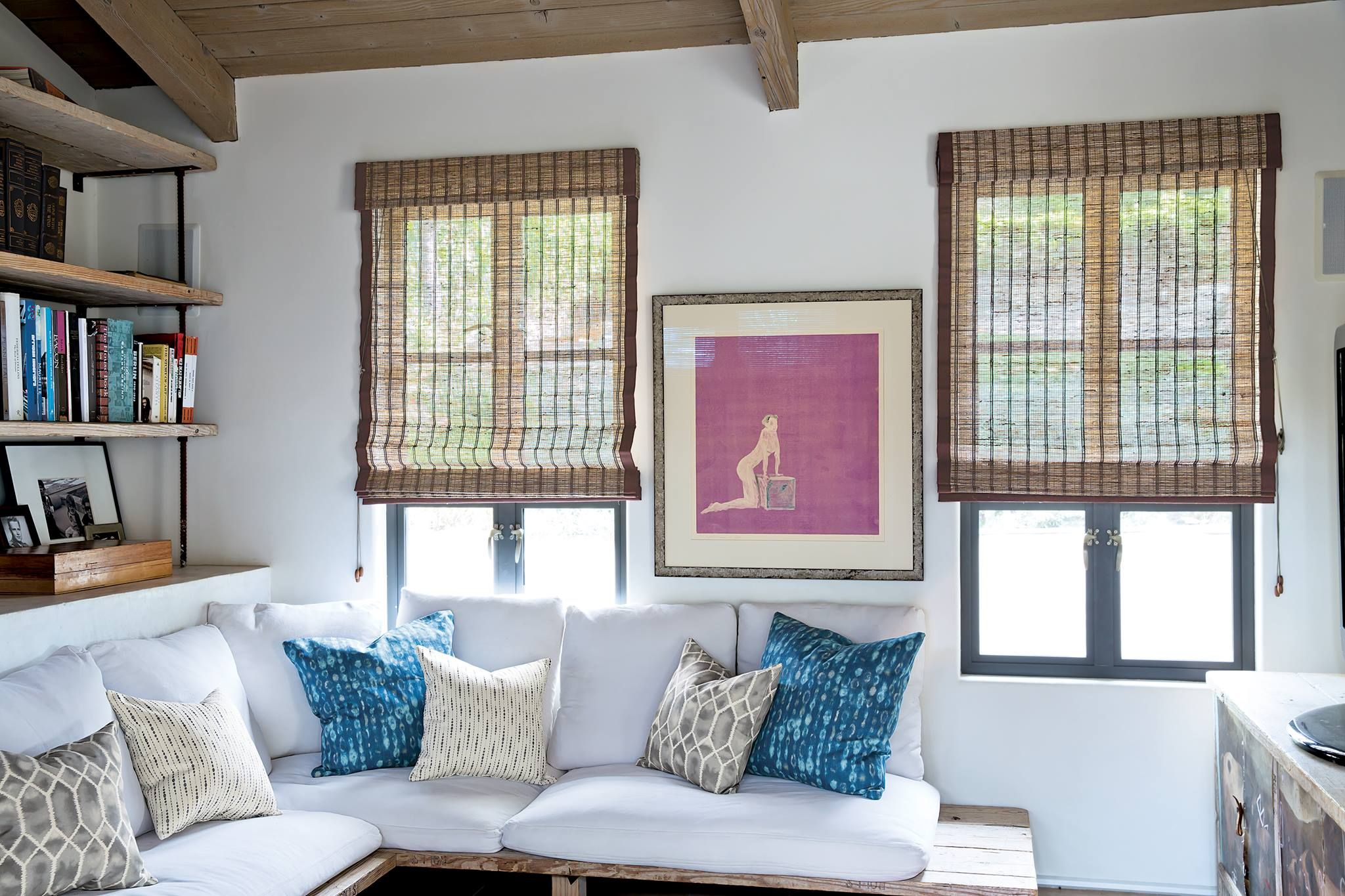 natural woven shades in a modern living room #naturalwoven #smithandnoble #shades #ecofriendly