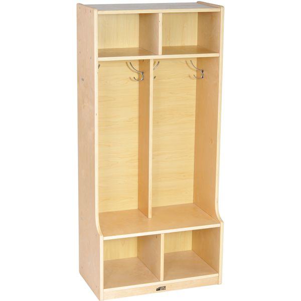 Coat Locker With Bench Two Sections At Schoolsin Locker Storage Wooden Lockers Ecr4kids