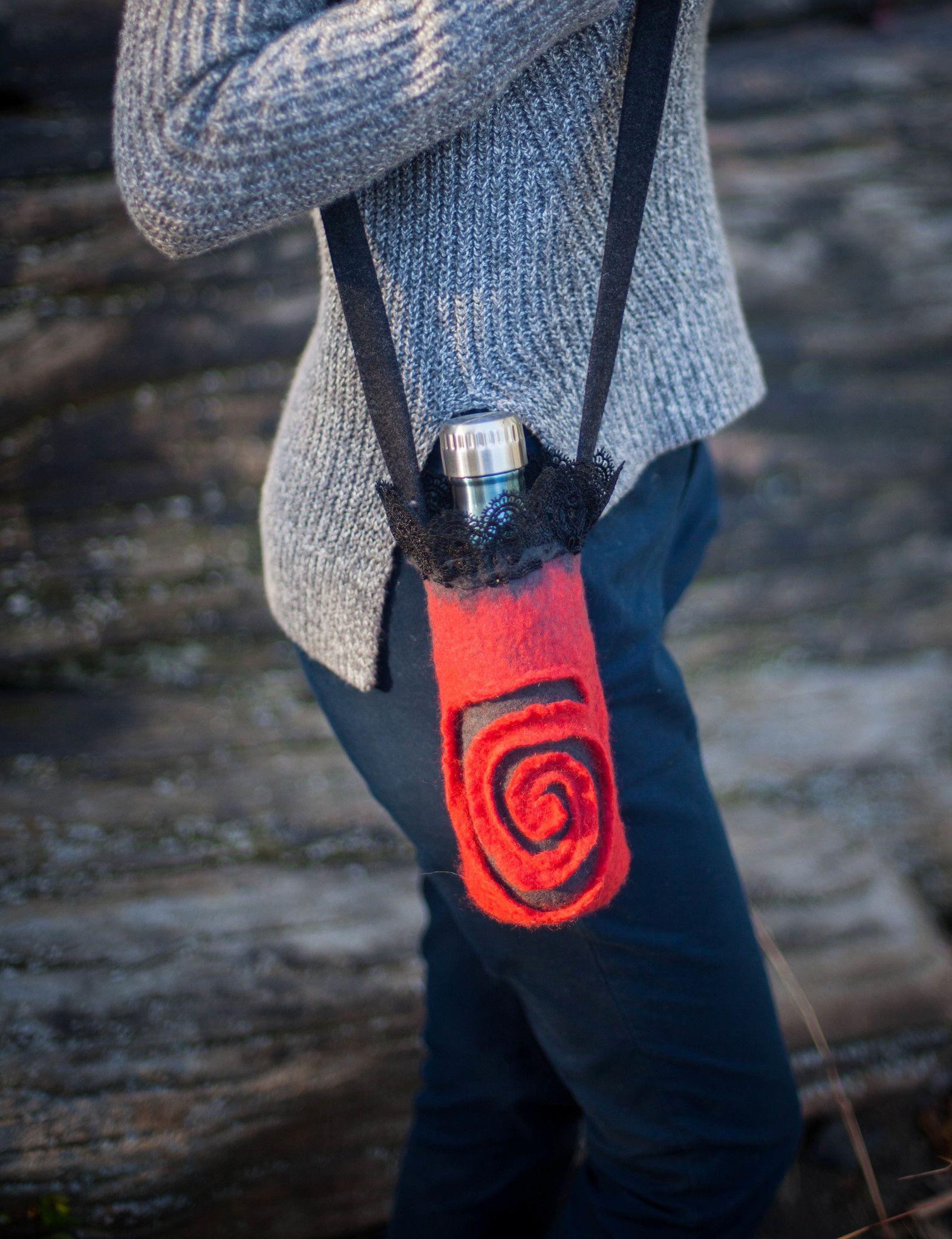Red Drink Holder Sweetjroom Red Drinks Wool Accessories Bottle Holders