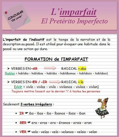 L Imparfait De L Indicatif Ficha Ole Lardy Espagnol Apprendre Grammaire Espagnole Espagnol