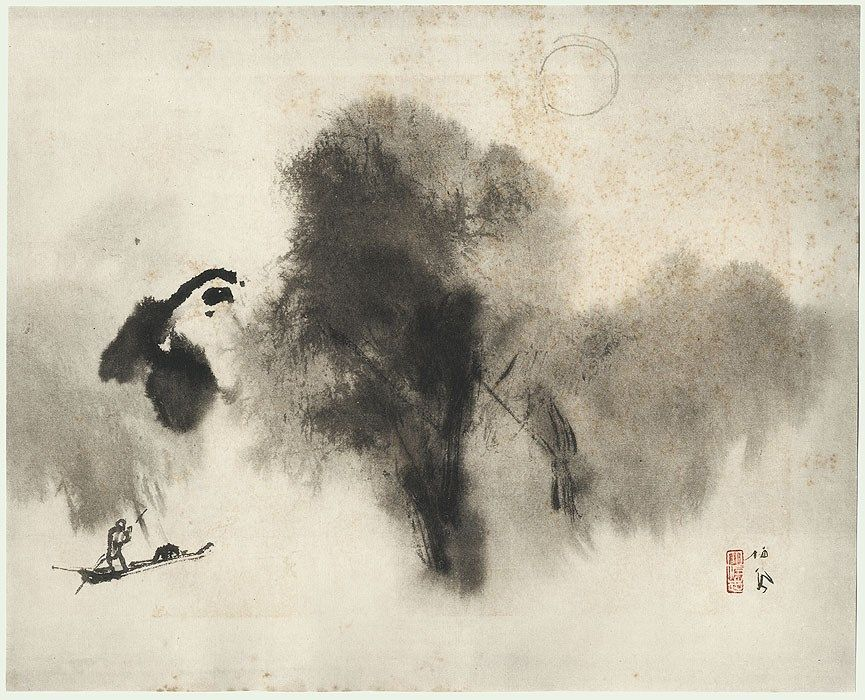 """After the rain"", Takeuchi Seihō (1864 -1942) - part of ""A Collection of Seiho's Masterworks"", 1937-1942. - Ink study."
