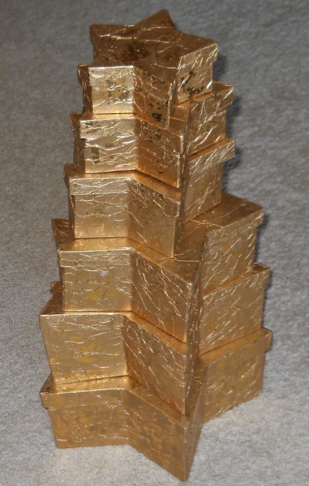 Nested Gift Boxes Tower Stars Gold Set of 6 Empty Gilded Christmas Birthday #Unbranded # ...