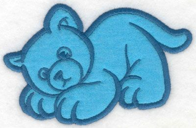 Crouching kitty applique | Applique Machine Embroidery Design or Pattern