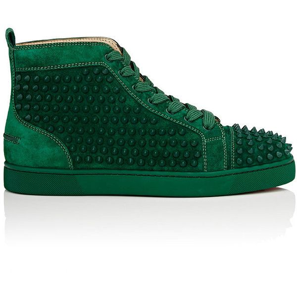 Christian Louboutin Men's Louis Flat Suede Sneakers ($1,295) ❤ liked on Polyvore featuring men's fashion, men's shoes, men's sneakers, green, mens cap toe shoes, mens spiked sneakers, mens hi tops, mens high tops and mens suede shoes
