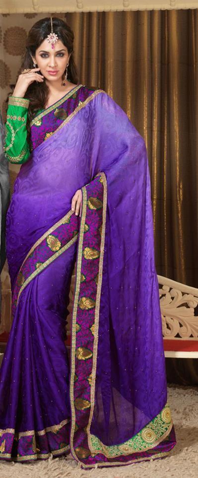 $89.93 Purple Silk Party Wear Saree 22451