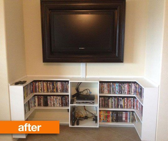 Apartment Decorating Reddit before & after: tv nook upgraded into a home entertainment center