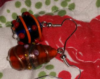 Mismatched Lampwork Earrings--SCA, Medieval, Viking, Unique, Sensitive Ears, Red and Purple - Edit Listing - Etsy