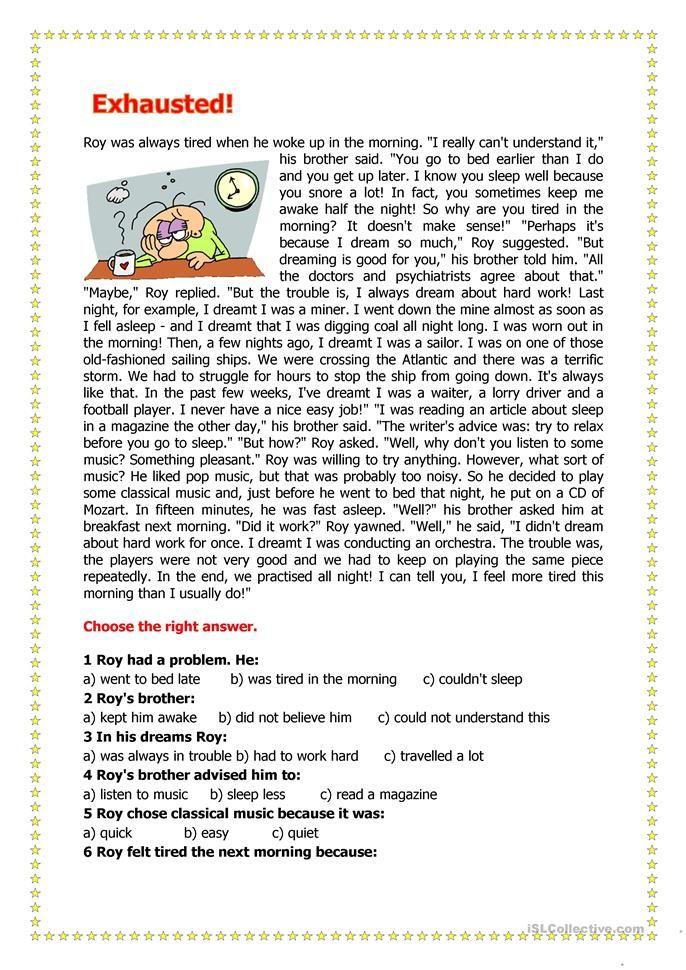 12 Esl Printables Reading Comprehension Images