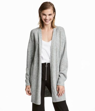 Light gray. Longer cardigan in a soft, fine knit with wool content ...