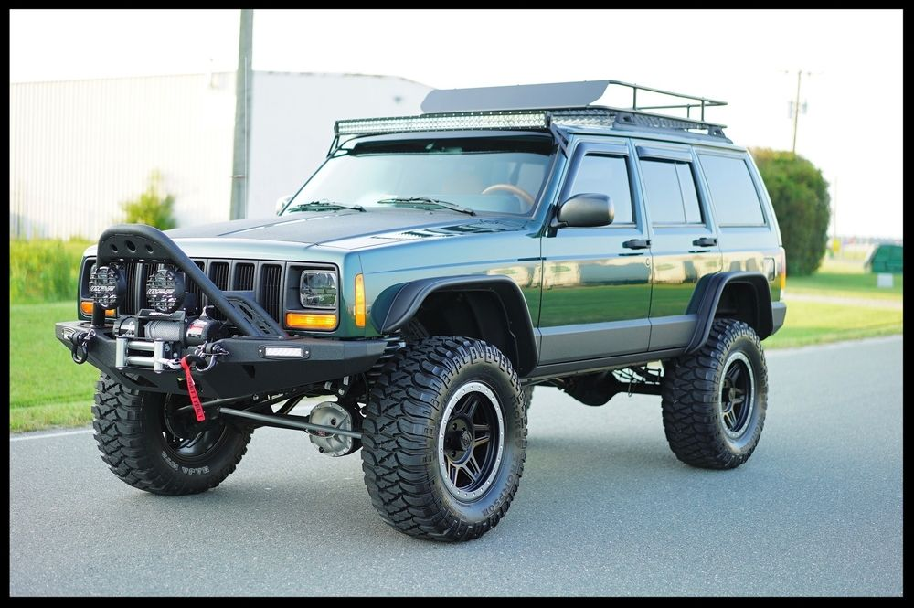 Restored Stage 4 With A Ton Of Extras Gorgeous Custom Interior And Much More Gorgeous New Green Paint Check Jeep Cherokee Jeep Cherokee Sport Lifted Jeep