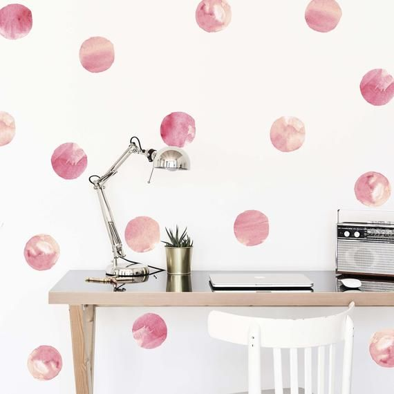 Pink Watercolor Dots Wallpaper Decals Removable Wallpaper Polka