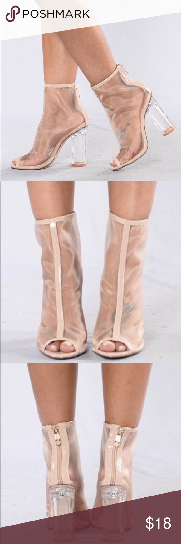 8afe92c1632 Nude Mesh Clear Block Heel Booties - Nude mesh clear block heel booties -  Used - In good condition - Difficult zipper Shoes Heels