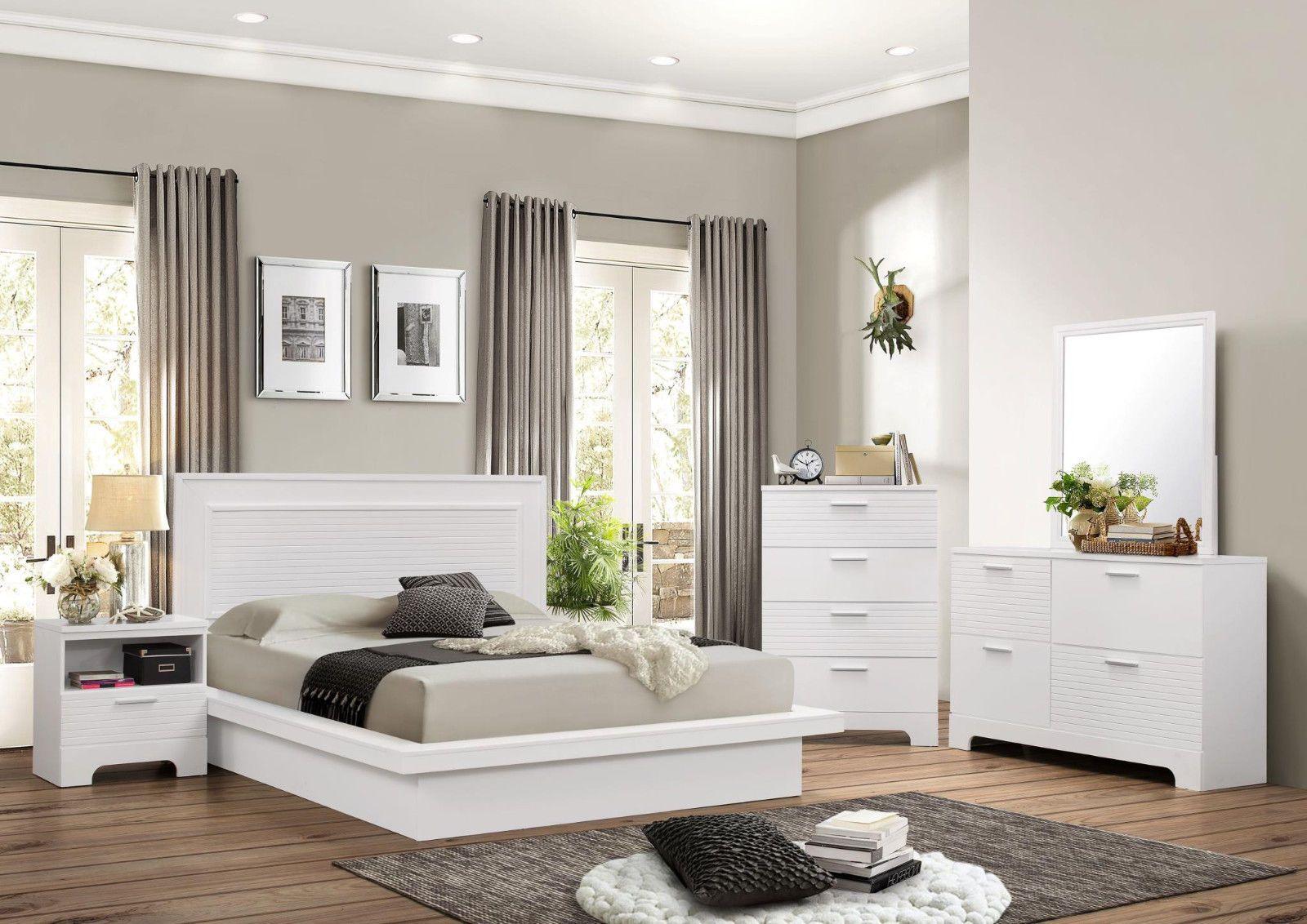 new modern rich white headboard 4pc king size bedroom set