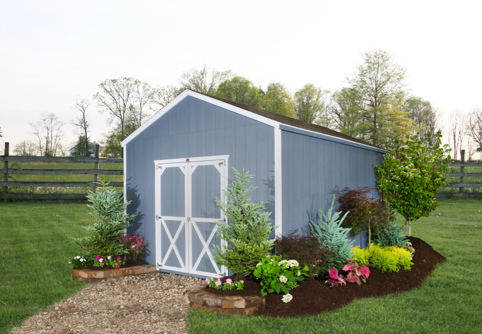 Landscape around shed cottage style storage shed shed for Garden building ideas