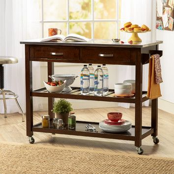 Three Posts Byrnedale Kitchen Island with Stainless Steel Top & Reviews | Wayfair