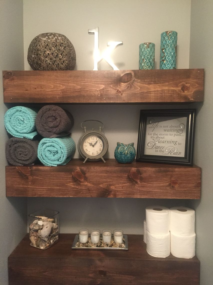 22 Ways To Boost And Refresh Your Bathroom By Adding Wood Accents: Made This To Go Above My Toilet Where There Was Just Empty Space. Pretty Happy With It
