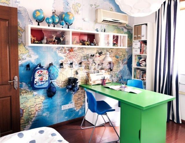 Kinderzimmer Schulkind deko weltkarte tapete globen schreibtisch ...