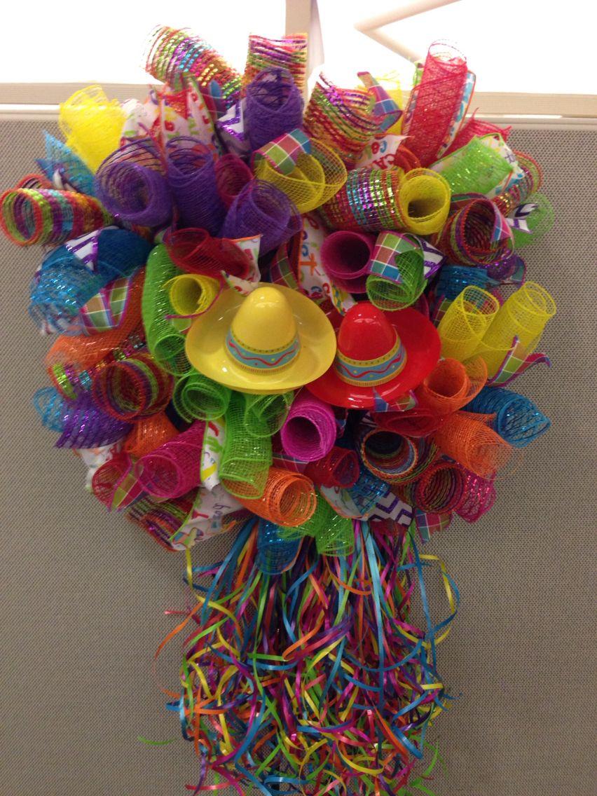 Deco mesh Fiesta wreath Handmade wreaths, Deco wreaths