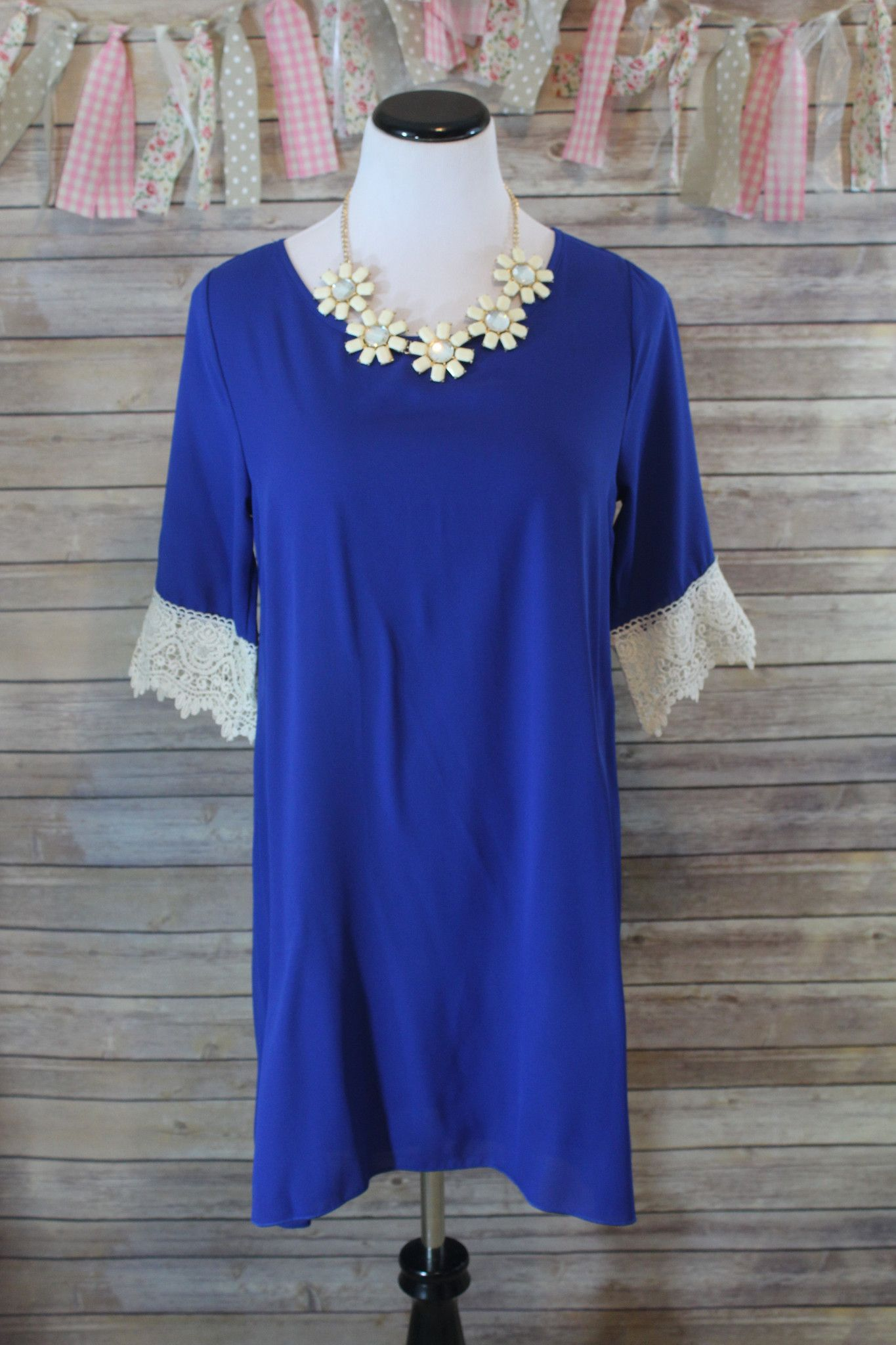 Royal blue lace dress styles  Sophisticated Style Royal Blue Dress with Ivory Lace Detail  Blue